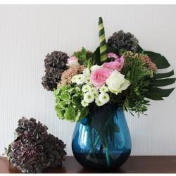 Dekovase, Glasvase, große Vase, Mungeblasenes Glas, Blau (H: 21 cm)