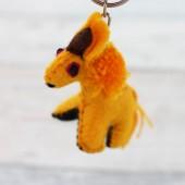 Schlüsselanhänger Einhorn gelb - Unikat