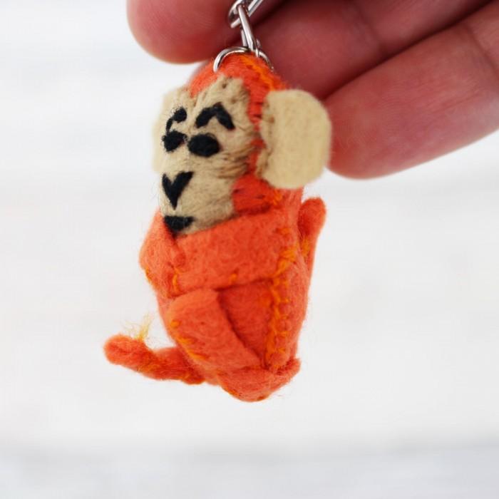 Schlüsselanhänger Affe - gelb