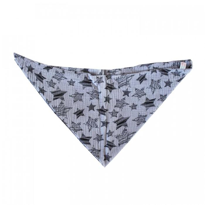 Dreieckstuch grau mit weiße Kreuz - Musselin