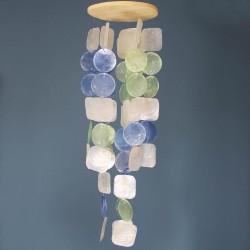Fensterdeko Windspiel | Muschelmobile blau-türkis-natur