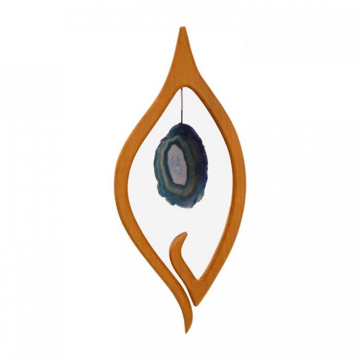 Fensterdeko aus Holz Segel mit blauer Scheibe