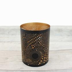 Teelichthalter | Loop schwarz/golden 12,5cm