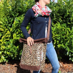 Fahrradtasche / Einzeltasche Leopard braun