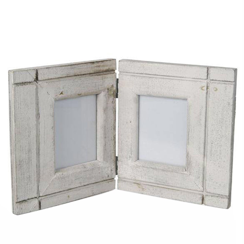Holz Bilderrahmen 2-teilig weiß   klappbar kaufen