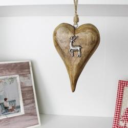 Herzhänger mit Hirsch - Weihnachtsdeko