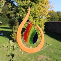 Engel aus Holz | Fenster Deko Kristall