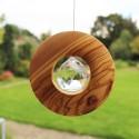 Fensterdeko Scheibe aus Holz zum Aufhängen | mit Bleikristall 40mm