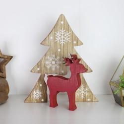 Hirsch farbig im Baum - rot - Weihnachtsdeko