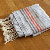 Handtuch, Fouta grau gestreift, Badetuch
