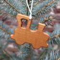 Christbaumschmuck aus Holz , Lokomotive , Geschenkanhänger