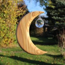 Fensterdeko Mond groß mit Kristallkugel | Holz Fenster Deko