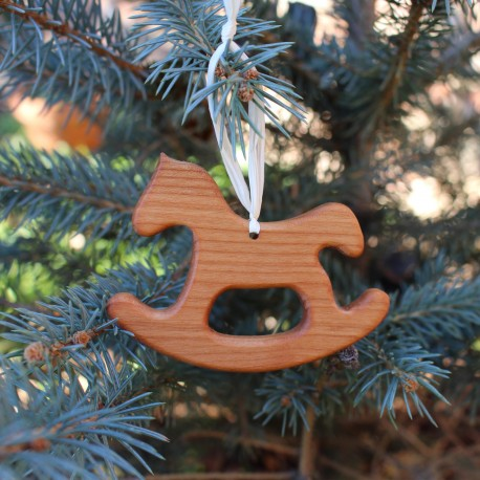Christbaumschmuck Aus Holz Schaukelpferd Geschenkanhanger Kaufen