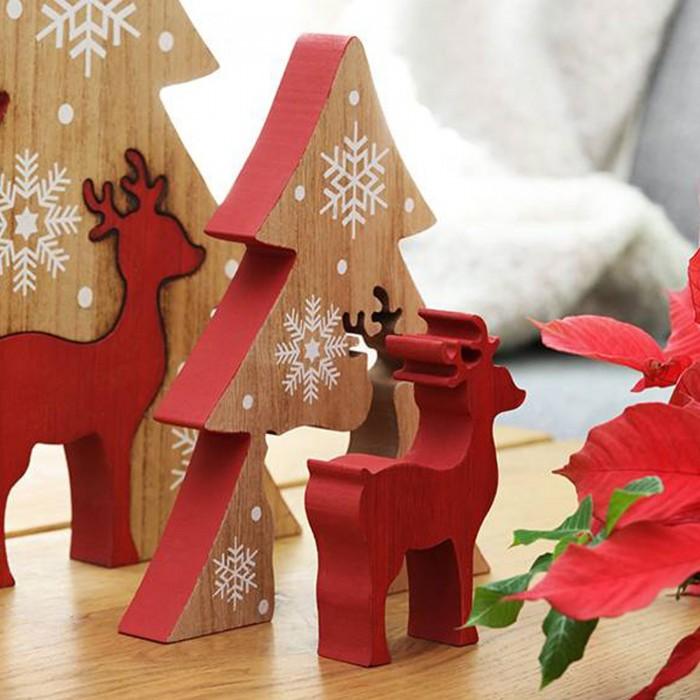 Wann Kann Man Weihnachtsdeko Aufstellen.Hirsch Mit Tanne Rot Weihnachtsdeko Aus Holz