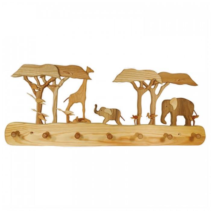 Kindergarderobe aus Holz Haken - Afrika