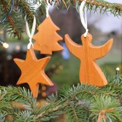 Set Baumschmuck aus Holz   Weihnachtsdeko