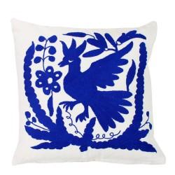 Handgewebte Sofakissen 1 Vogel blau