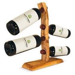 Flaschenhalter mit 4 Flaschen aus Olivenholz