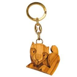 Schlüsselanhänger aus Holz - Katze