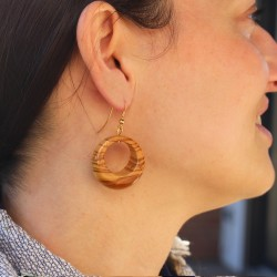 Ohrringe aus Holz | Ohrschmuck Ring breit