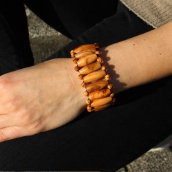 Armband aus Holz lange Perlen