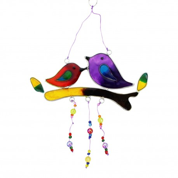 Fensterdeko Vögel auf Zweig