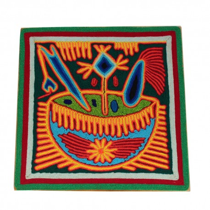 "Fadenbild Wanddeko ""Ofrenda"" | Wandbild 20 x 20 cm"