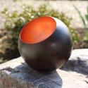 Teelichthalter Kugel, Globe bronze/kupfern 9cm
