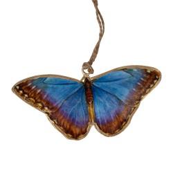 Deko Anhänger - Schmetterling blau mit braun