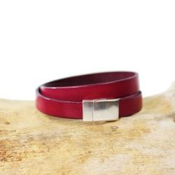 Lederarmband rosa | Magnetverschluss silber