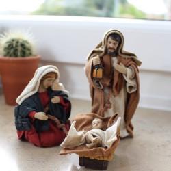 Krippenfiguren Set mit Kleidung | Heilige Familie 14 cm