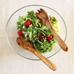 Salatbesteck klein aus Holz, Olivenholz