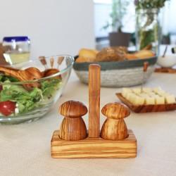 Salzdose mit Deckel und Salzschippchen aus Holz