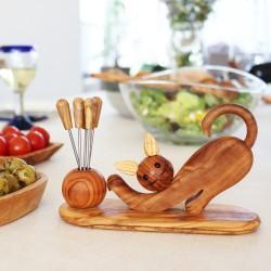 Katzeträger aus Holz | Stiftehalte oder für Olivenpiker