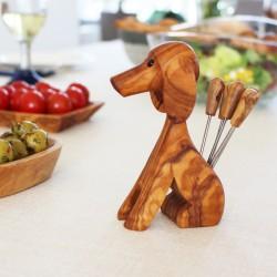 Olivenpiker und Käsegabel aus Holz