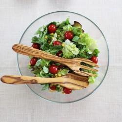 Salatbesteck aus Olivenholz Quadrado