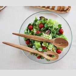 Salatbesteck Spitz klein aus Olivenholz