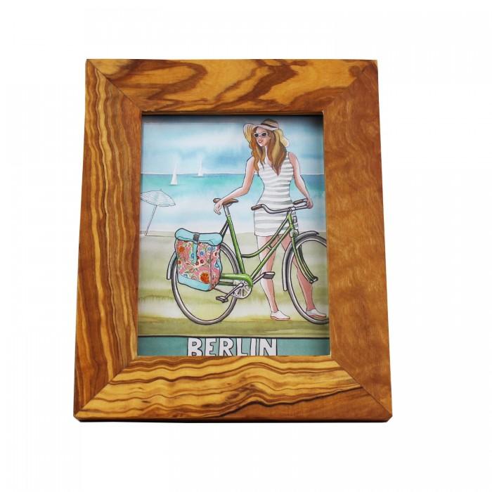 Bilderrahmen hochkant aus Olivenholz | 11,5cm x 8,5cm Fotorahmen