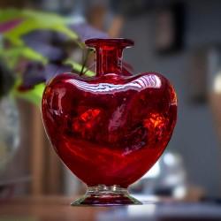 Dekoflasche, Blumenvase Herz rot