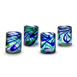 Gläser 4er Set Wellen grün-blau