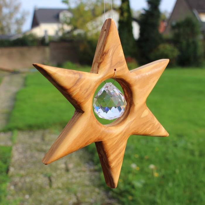 Fensterdeko Stern aus Holz mit Bleikristall   Sternendeko klein