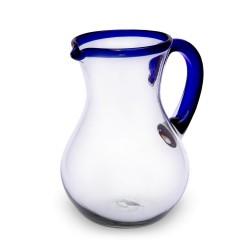 Karaffe Birne blauer Rand | Mundgeblasenes Glas