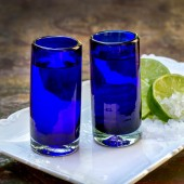 Schnapsglas 2er Set blau , Mundgeblasenes Glas
