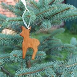 Decoraciones para árbol de navidad hechas de madera | Locomotora | Etiquetas de regalo
