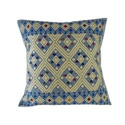 Sofakissen Tazajala himmelblau und beige | Ethno Kissen 50x50