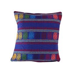 Sofakissen Cuadros dunkelblau | handgewebte Kissenhülle 40 x 40