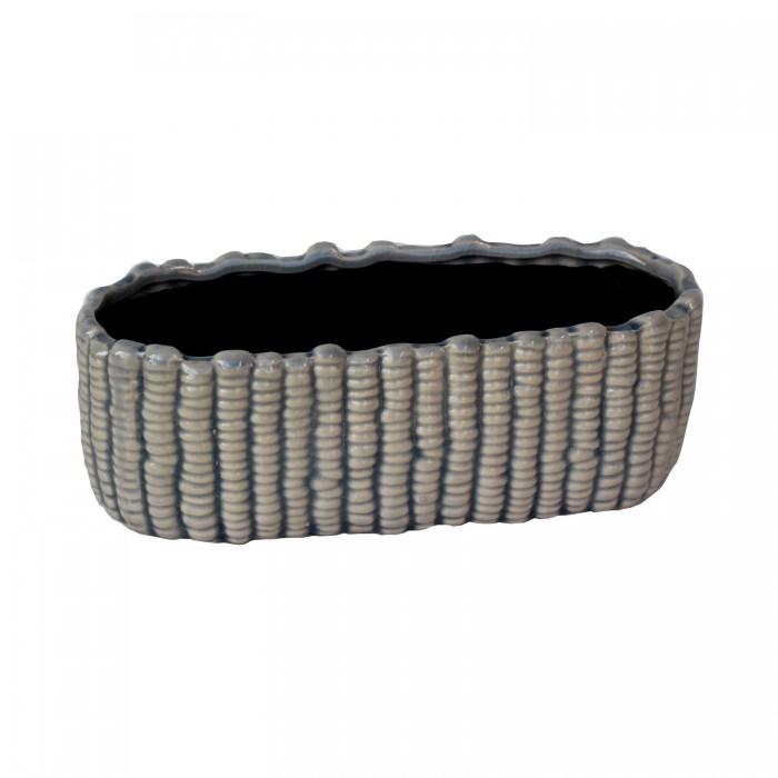 Bowl Rectangular Blue Stripe Ceramic 21x9x7,5cm