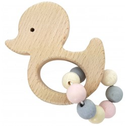 Greifrassel Ente aus Holz | Greifling blau