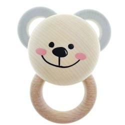 Greifling aus Holz | Rundrassel mit Ringen