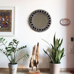 Spiegel kreis mit Rosen silber